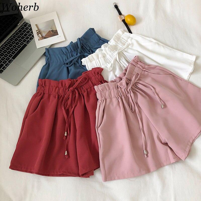 Woherb Solid Wide Leg Shorts Women 2020 Summer Casual Elastic High Waist Shorts Bow Bandage Korean Chic Short Femme 22796