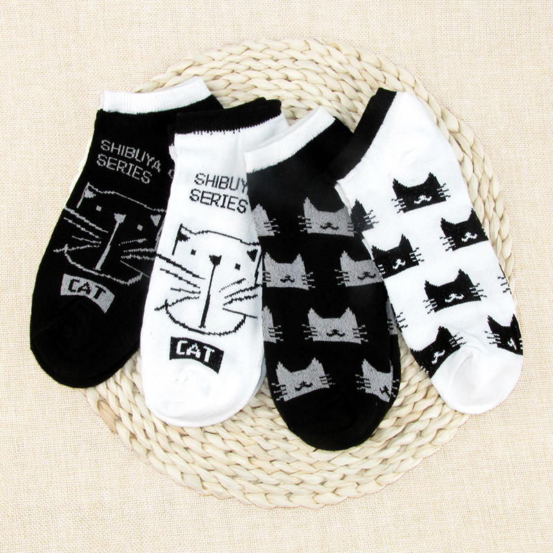 CAT Warm Comfortable Cotton Bamboo Fiber Girl Women's Socks Low Female Invisible Color Girl Boy Hosier 2 Pair=4pcs Ankle Sock