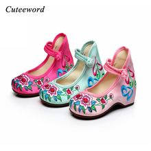 Girl Flat Cloth Shoes flower Embroidery Shoes girls Chinese Old Peking Casual Cloth comfortable soft Dancing Shoes Size 25-36 стоимость