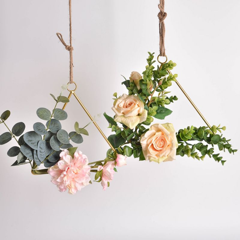 Wrought Iron Artificial Flowers Wreaths Wall Hanging Decoration Artificial Garland For Wedding Home Party Door Decoration