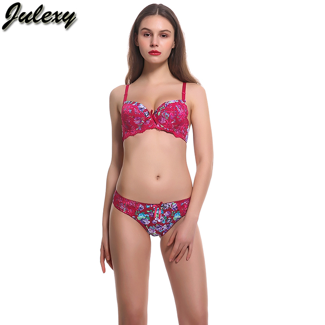Julexy Brand New 2018 printing Girl underwear women set A B Cup Sexy lace  top bra and panty set Black blue red bra brief set ba19c868d