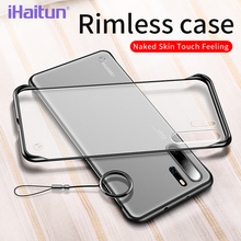 iHaitun Luxury Borderless Phone Case For Huawei P30 Pro P20 Cases Slim Transparent Back Cover Mate 20 Ring Straps