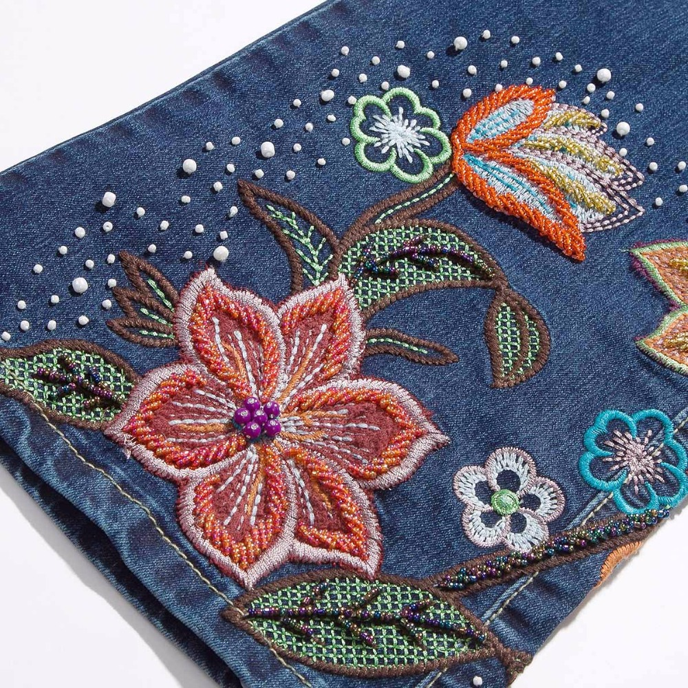 Aliexpress buy 2016 hand made spring high waist luxury aliexpress buy 2016 hand made spring high waist luxury beading embroidered flares jean female embroidery flower jeans denim trousers plus size from ccuart Images