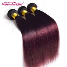 Чудо-девочка Ombre бразильский прямые волосы 1B 99J/бордовый два тона Связки человеческих волос 1 шт. не Реми волос Бесплатная доставка