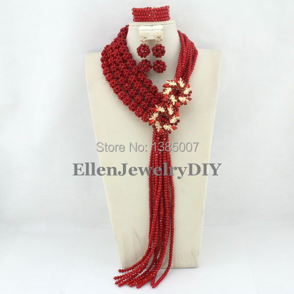 Fashionable Nigerian Wedding African Beads Bridal Jewelry Set Red Costume African Jewelry Sets Free Shipping WS5355 amazing red nigerian wedding african beads jewelry set costume african jewelry sets bridal beads necklace free shipping abl001