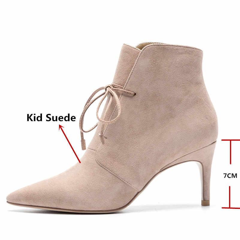 FEDONAS 1New varış kadın yarım çizmeler sonbahar kış sıcak ince topuklu ayakkabı kadın sivri burun seksi süet deri çapraz bağlı pompaları