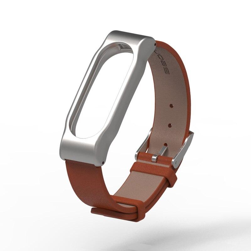 Original Mijobs Xiaomi Mi Band Metal Leather Strap Belt Wristband For Mi