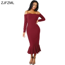 ZJFZML 2017 New fashion high quality bandage dress women slash neck full sleeve party dress autumn off shoulder mermaid dress