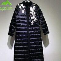 Russia women's coat winter down jacke Embroidery flower duck down jacke women elegant fashion long outerwear 4 colors Plus size