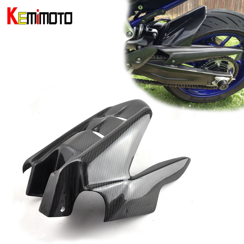 KEMiMOTO For Yamaha MT 07 MT07 MT-07 2014 2017 Motorcycle Accessories Rear Mudguard Hugger Fender 100% Real Carbon Fiber