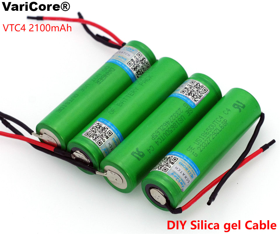 VariCore New 100 Original 3 6V 18650 US18650VTC4 2100mAh VTC4 20A 30A Discharge Rechargeable battery DIY Silica gel Cable in Replacement Batteries from Consumer Electronics