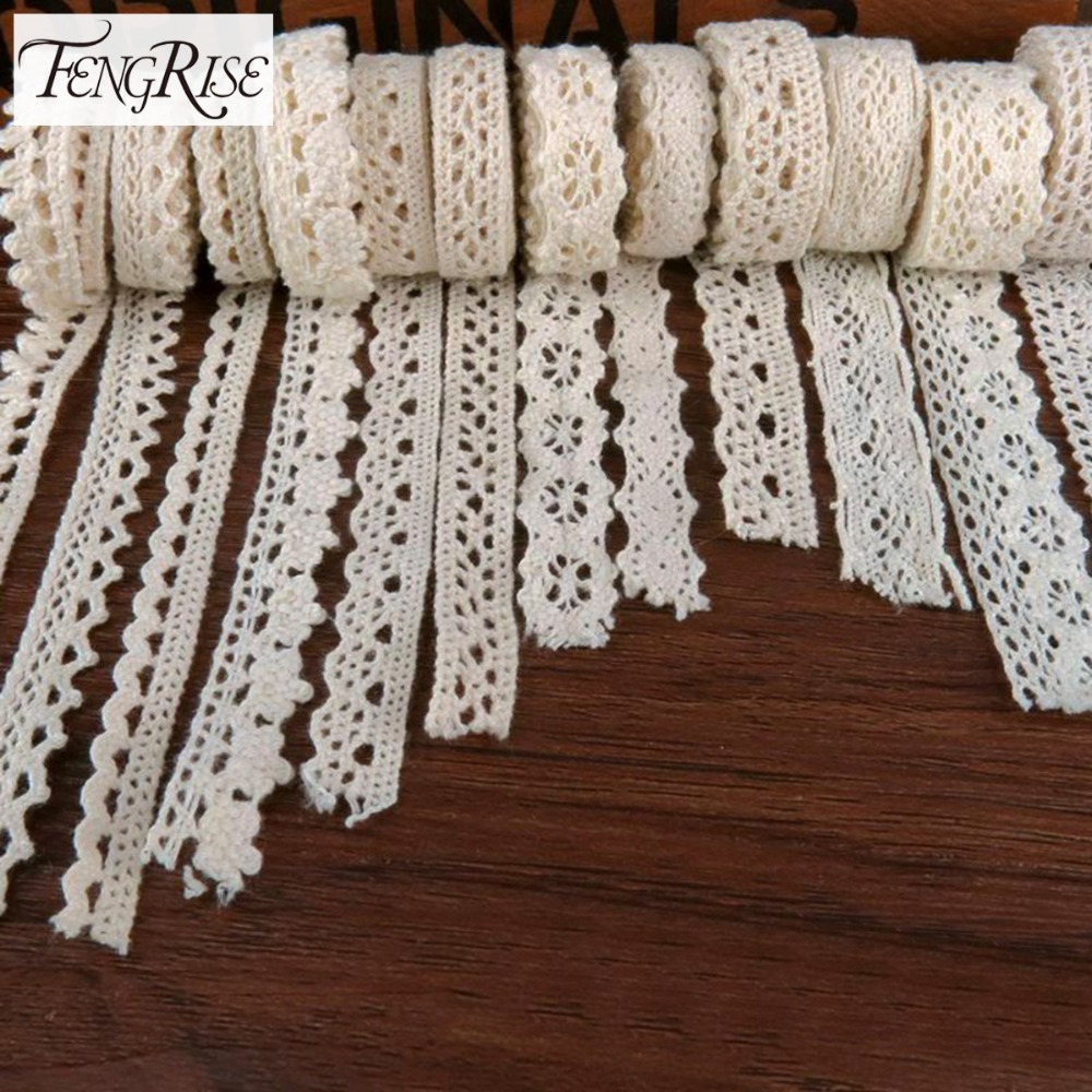 FENGRISE Apparel Sewing Fabric 5 Yards DIY Ivory Cream Black Trim Cotton Crocheted Lace Fabric Ribbon Handmade Accessories Craft 1pcs fabric flower venise lace sewing applique lace collar neckline collar applique diy craft neckline sewing accessories 01 09