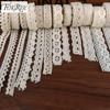 FENGRISE Apparel Sewing Fabric 5 Yards DIY Ivory Cream Black Trim Cotton Crocheted Lace Fabric Ribbon Handmade Accessories Craft