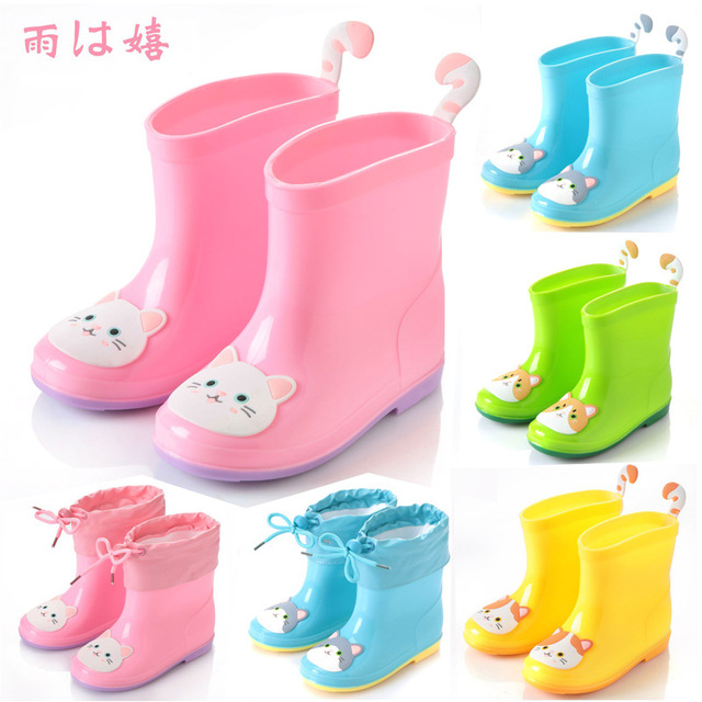 87d61d57c798 Baby Boots Kid Rain Boots With Cartoon Printing Girls Children Rain Shoes  Bow Waterproof Child Rubber