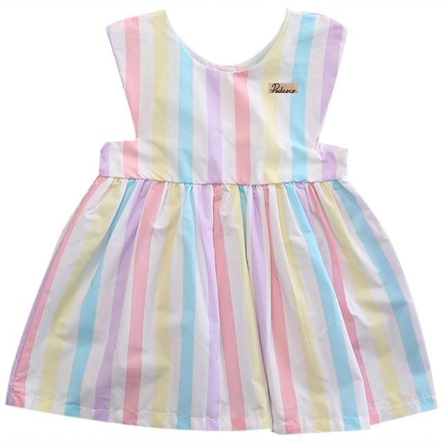 1c879051d Algodón bebé dulce encantador Niñas vestido rayado colorido sin mangas  verano chaleco botón vestido niño ropa