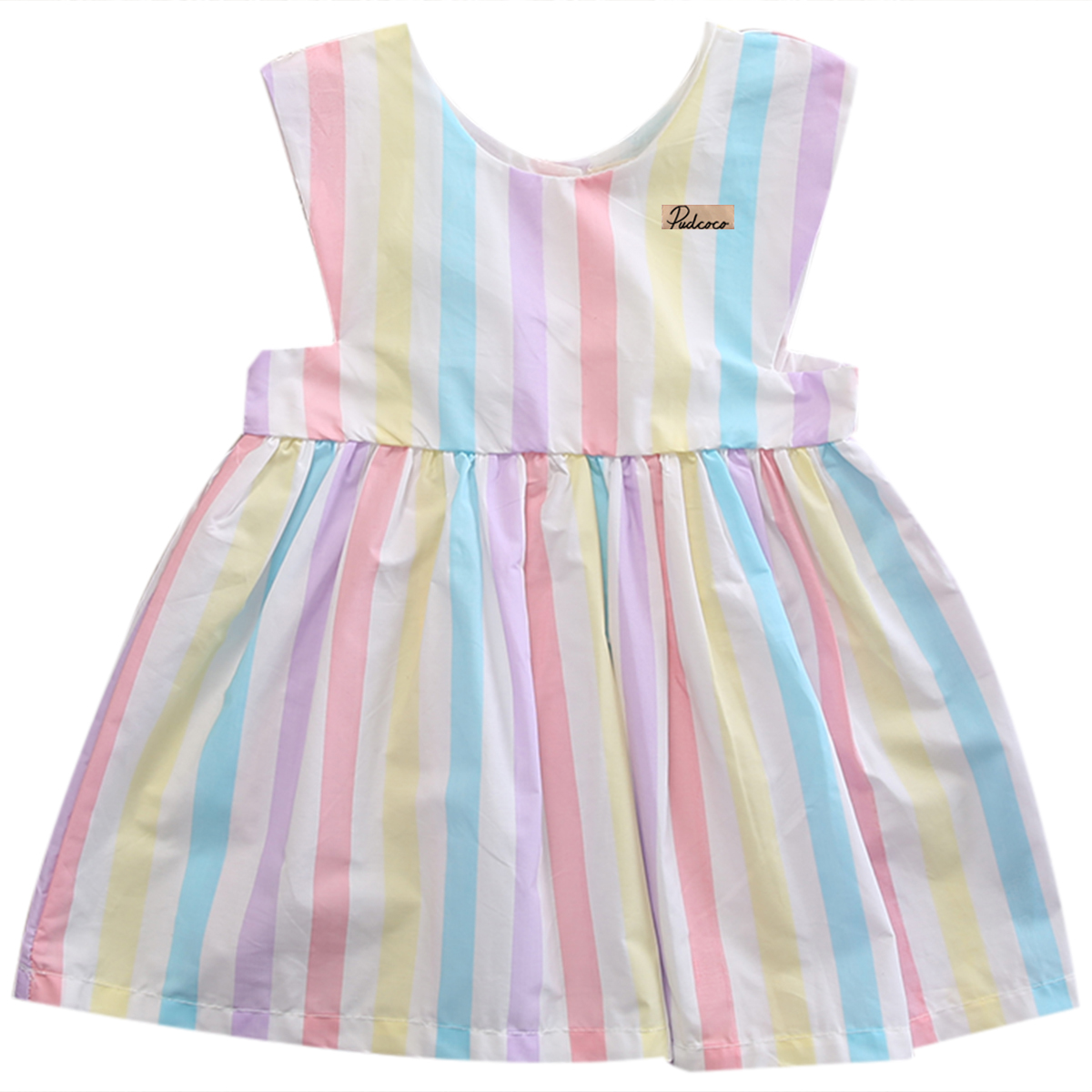 Cotton Sweet Baby Lovely Girls Dress Sleeveless Colourful Striped Summer Vest Button Dress Toddler Clothes