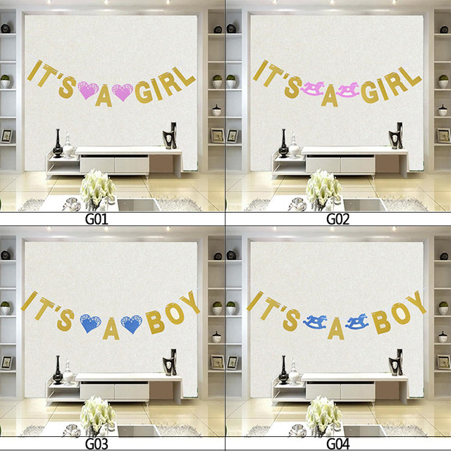 US $3 0 |1 Set Paper It's A Girl/Boy Gold Glitter Bunting Banner Hanging  Flag pull flower For Happy Birthday Baby Shower Garland Decor 7z-in  Banners,