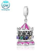925 Sterling Silver Carousel Charm Bead Pave Australian Crystal Fit European Bracelets Pendants GW Brand Jewellery S243