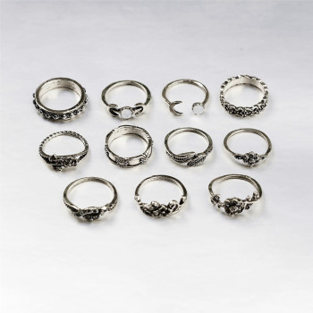 Boho Vintage Punk Womens Antique Ring Set 1