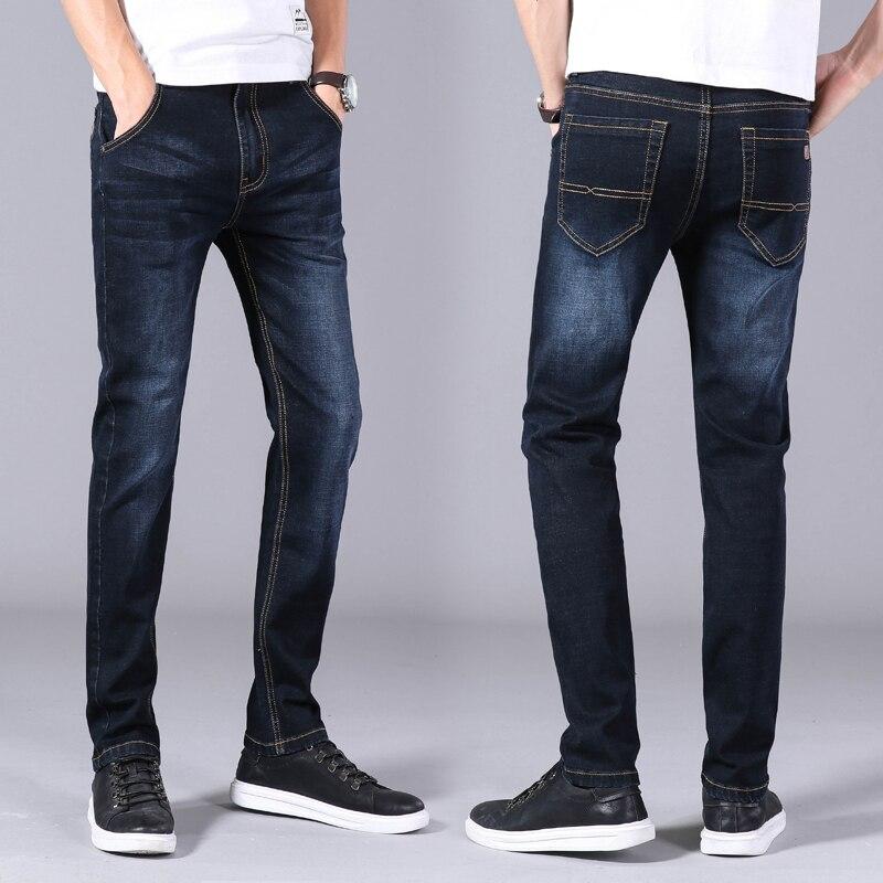 Autumn Winter Men's Jeans Business Casual Stretch Slim Denim Jeans Light Blue Black Trousers Male Brand Pants Plus Size 28-40 Men Men's Clothings Men's Jeans Men's Pants