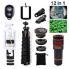 New Phone Lenses Kit 12X Telephoto Zoom Telescope Wide Angle Macro Fish Eye Lens For IPhone