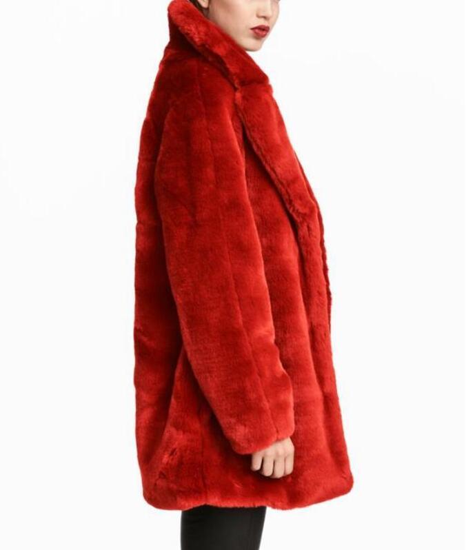 WISHBOP NUOVO 2017 Inverno Natale Rosso STRUTTURATO Faux Fur Jacket cappotto Risvolto Collar Maniche Lunghe Pulsante A Scatto up Warm Furry cappotto
