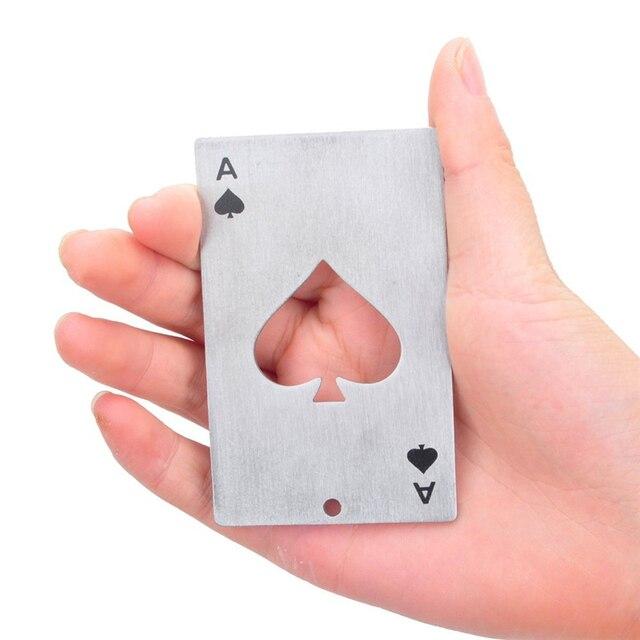 TTLIFE-carte de jeu de Poker 1 pièce | Outil de Bar, Ace of Spades, Soda, bière bouteille ouvre-bouteille, carte de Bar