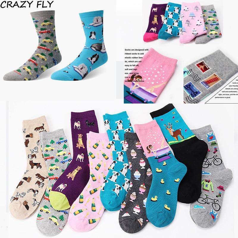 CRAZY FLY Women s Korean Fresh Harajuku Cute Socks Cartoon Animals Fish Pug  Kawaii Meias Creative Jacquard Design Funny Socks 75a95af01d2