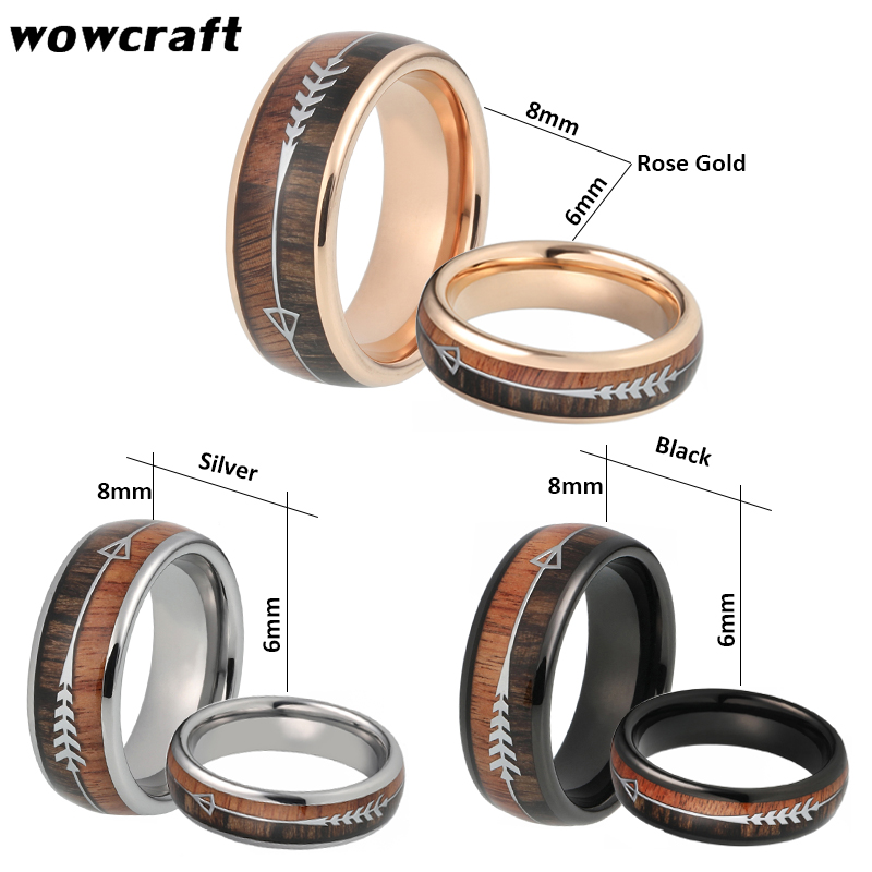 6/8mm Tungsten Carbide Rings for Men Women Wedding Bands Nature Koa Wood Arrow Inlay Customized Free Engraving Comfort Fit