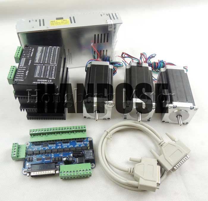 Комплект фрезерного станка с ЧПУ 3 оси комплект ST M5045 (замена 2M542) Драйвер + 5 оси коммутационная плата + Nema23 425 Oz in мотор + 350 Вт источник питания