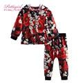Pettigirl nuevo estilo girls primavera y otoño que arropan el sistema con fruta linda impresión de abrigo y pantalones de flores cs81204-359f