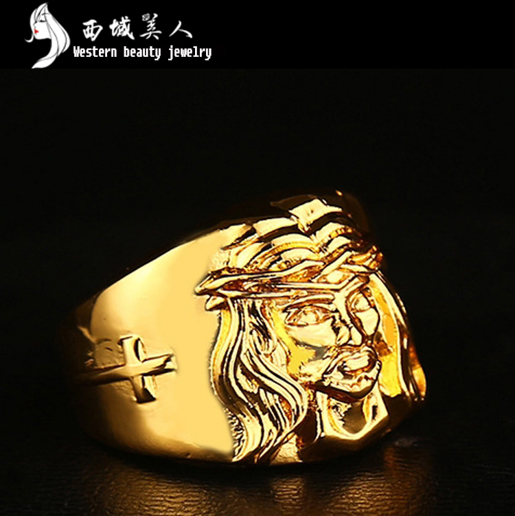 Retail 1 Pcs 2017 Mens High Quality New 24K Gold Plated Lion Wedding Ring Hip Hop Jewelry 1