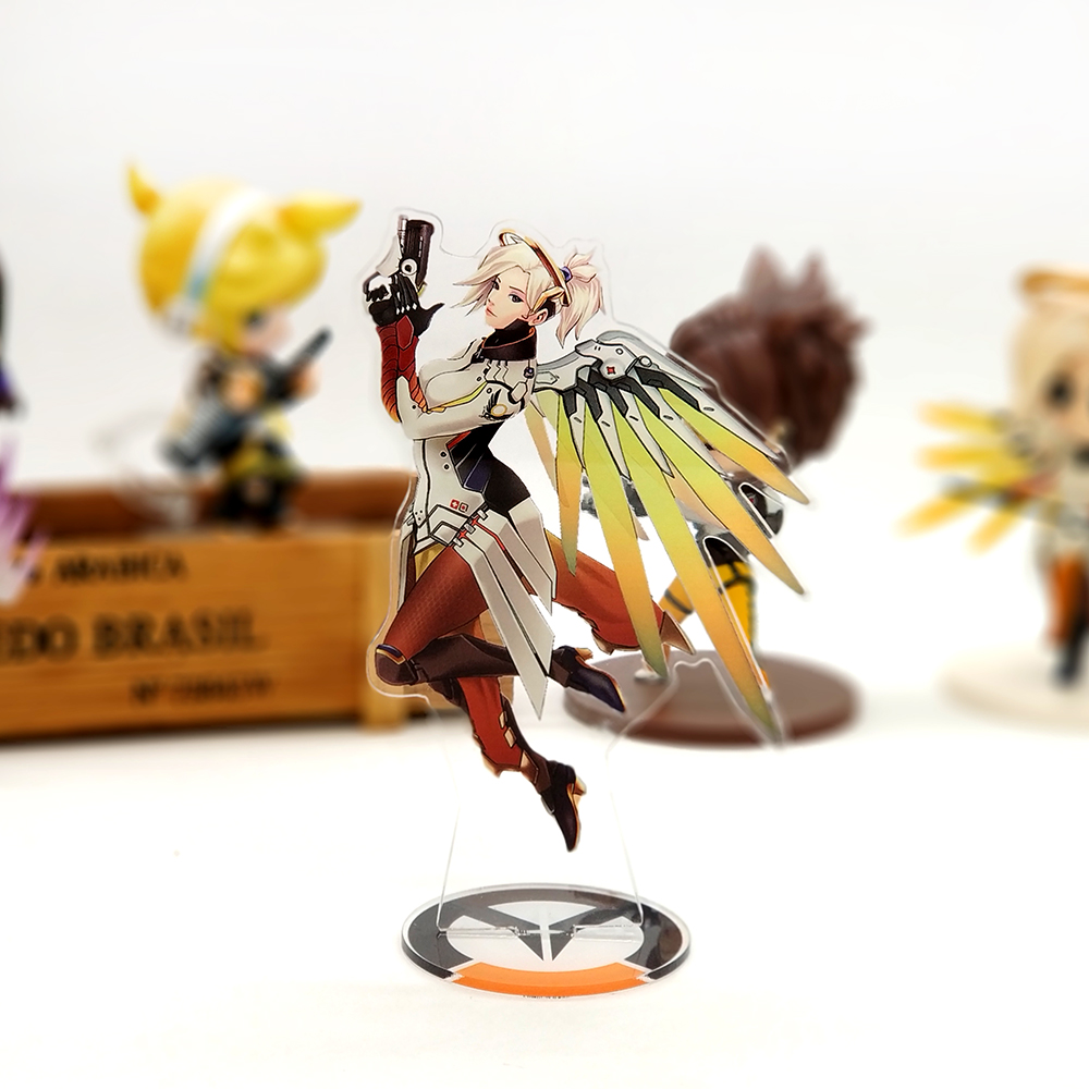 Love Thank You OW watch Mercy acrylic stand figure model plate holder cake topper anime FPS cool video game heroes never die