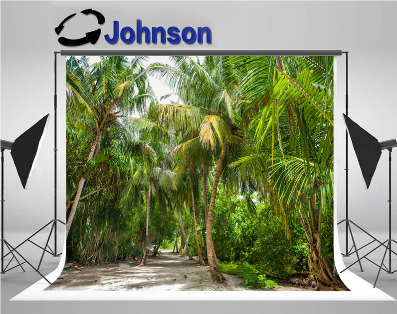 tropical Palm tree Leaves Forest Island Ocean Humid Jungle photography backgrounds Vinyl cloth Computer print wall backdrop