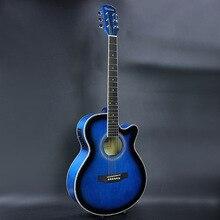 Electro Pop Con Tapa Llana Eléctrica Acústica Folk Guitarra Jumbo 40 Pulgadas Cutaway Afinador de Tilo Guitarra 6 Cuerdas Azul Claro