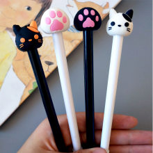 1 Pcs Korean Creative Cute Cat head Cat Paw Neutral Pen Black Pen Signature Kawaii School Supplies Pens for Writing(China)