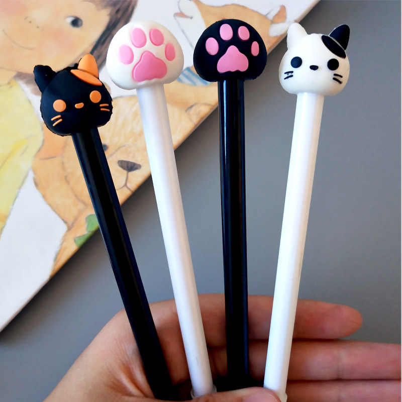 1 Pcs Korean Creative Cute Cat head Cat Paw Neutral Pen Black Pen Signature Kawaii School Supplies Pens for Writing