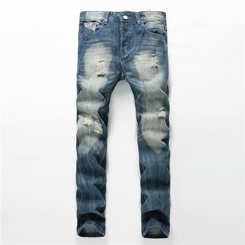 New 2017 Casual Biker Hole Jeans Men Brand luxury Straight Denim Jeans Hip Hop Trousers Designer Fashion Decoration Slim Pants dsel designer men jeans slim fit straight denim thin stretch mens skinny biker jeans casual pants hip hop denim trousers