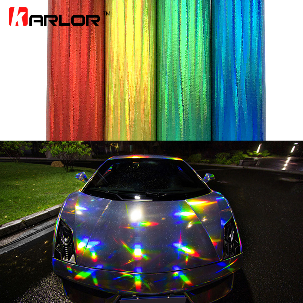 Car Stickers Holographic Chrome Vinyl Holo Film Laser Plating Car Wrap Sticker Sheet With Air Bubble Free 2m/5m/20m*152cm/Roll high quality stretchable chrome black vinyl wrap sheet roll for car wrapping air free bubble
