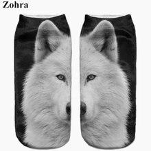Zohra New arrival snow white Samoyed Full Print sock Women's Men's Low Cut Ankle Sock Cotton Hosiery Slippers Casual Socks