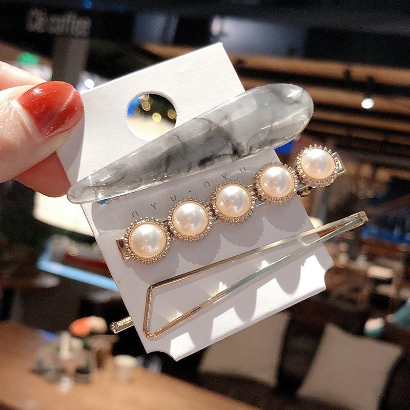 Купить с кэшбэком Sale 3PCs/set Alloy Vintage marble Hairpins Pearl Women Hair Clip Set Styling Tool