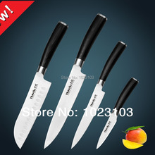 Huiwill brand Hot sales 4pcs Japanese AUS-8 stainless steel kitchen santoku chef utility paring knife set with Black G10 handle