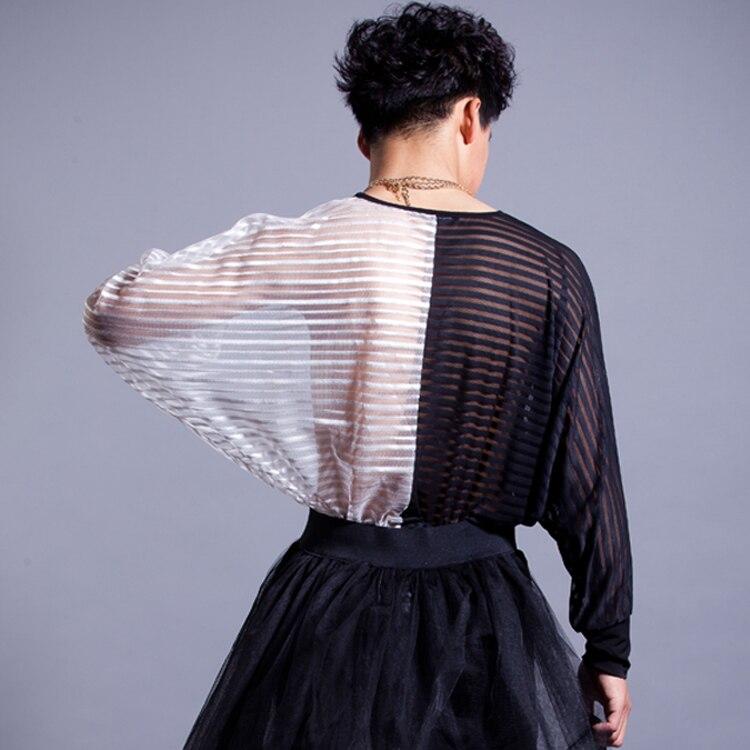 Couture De Costume Mode Style Blanc Creux Européen Longues D'été Métrosexuel Rayure shirt Manches T Noir Masculin Et 4w00nxq6