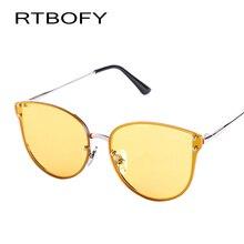 RTBOFY Oversized Cat Eye Sunglasses Women Round Mirror Gold Rose Frame Flat Mirror Sun Woman Fashion HD Lens UV400 -9069