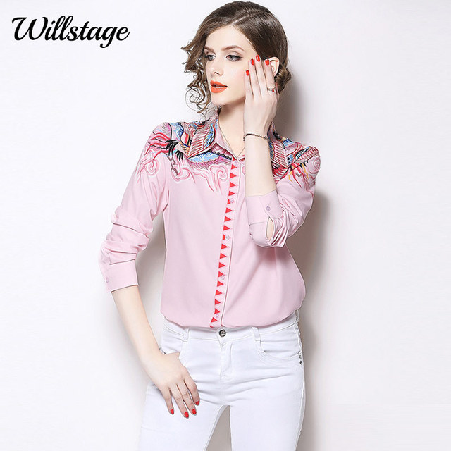 cd3860f2b5d Willstage Pink Shirts Women Bird Printed Pattern Blouse Button Long Sleeve  Elegant Tops 2019 Spring Autumn Clothes OL Wear