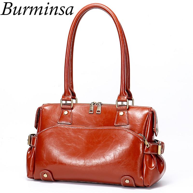Burminsa Autumn Ladies Genuine Leather Bags Female Shoulder Bags Vintage Oil Wax Leather Handbag High Quality