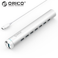 ORICO ARH7 U3 SV Aluminum Round 7 Ports USB3.0 HUB for MAC Notebook Perfectly Silver