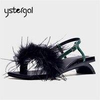 Ystergal Feather Decor Women Sandals Summer Beach Shoes Woman Strange Heel Gladiator Sandal Ladies Fur Low Heels Sandalia