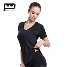 ФОТО Womens V-Neck Loose Comfortable Top Tees Polyester/Spandex  Elasticity Breathable Quick Drying Sports Short Cover T-shirt