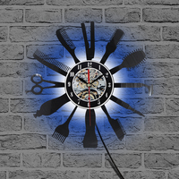 Led 빛 벽 시계 백라이트 비닐 시계 빗 이발사 7 색 변경 홈 장식 램프 밤